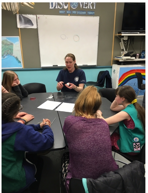Dr. Katrina Counihan teaching a group of girls how to dissect an egg.