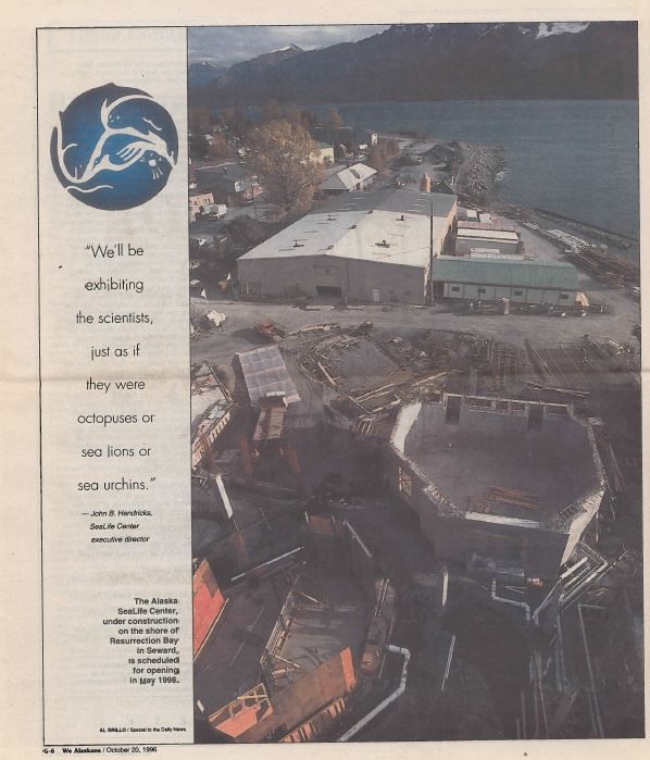 "A page from the Anchorage Daily News on October 20, 1996, which reads a quote from the past ASLC Executive Director, ""We'll be exhibiting the scientists, just as if they were octopuses or sea lions or sea urchins."""